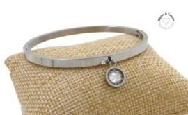 Stainless steel armband met Swarovski crystal