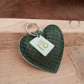 Lederen hart sleutel/tashanger groen groot