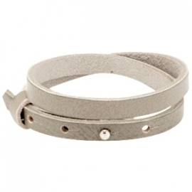 Cuoio armband leer 8 mm dubbel Sage grey