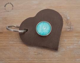 Tuiglederen hart sleutel-/tashanger