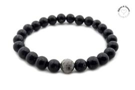 Natuursteen kralen armband antracita black