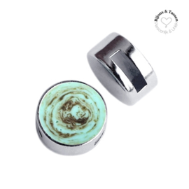 Slider 12 mm plat Polaris Elements stone look Turquoise -brown