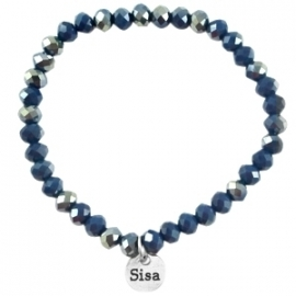 Sisa armband Royal blue - half diamond gold coating