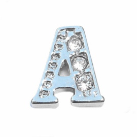 Floating Locket Charm letter A