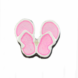 "Floating Locket Charm ""slippers roze"""