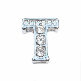 Floating Locket Charm letter T