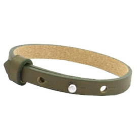 Cuoio armband leer 8 mm  Dark army green