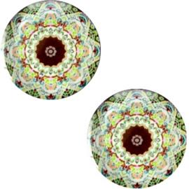 Slider 20mm Mandala Multicolor groen-bruin
