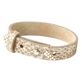 Cuoio armband leer 15 mm Snake metallic khaki brown