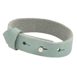 Cuoio armband leer 15 mm nubuck Haze blue