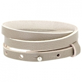 Cuoio armband leer 8 mm  triple Sage grey