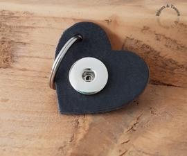 Lederen  hart sleutel/tashanger grijs/blauw