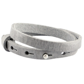 Cuoio armband leer 8 mm dubbel natural grey