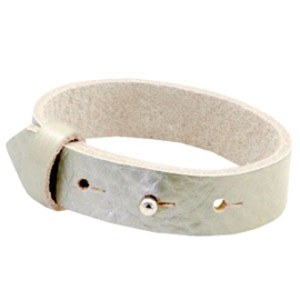 Cuoio armband leer 15 mm Metallic sage light green