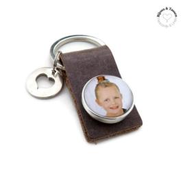 Lederen sleutelhanger incl. foto- of tekstclick