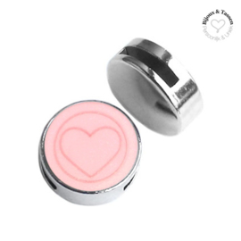 Slider 20mm hart matt Pastel coral pink