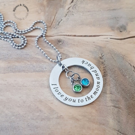"Ketting ""I love you to the moon and back"" incl. geboortesteentje"