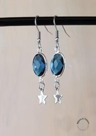 Oorhangers zilver / denim blue