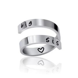 "Stainless steel ring ""Big Sis"""