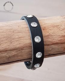 Lederen strass armband zwart