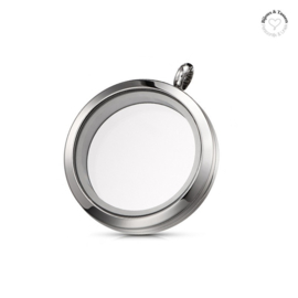 Memory Locket zilver 30mm RVS