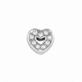 "Floating Locket Charm ""strass hartje"""