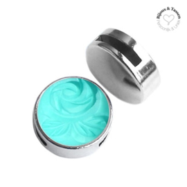 Slider 20 mm Carved Rose Matt Light Turquoise