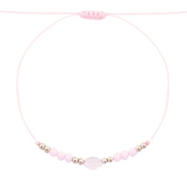 Stone & facetkralen armbandje light pink/goud