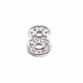Floating Locket Charm cijfer 8