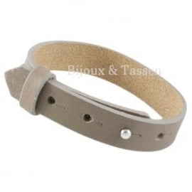 Cuoio armband leer 15 mm taupe XL