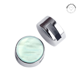 Slider 12 mm plat Parelmoer Light azore green