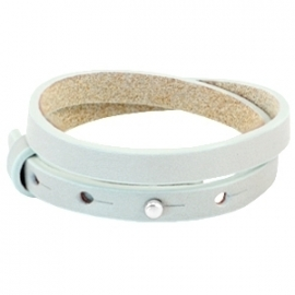 Cuoio armband leer 8 mm dubbel Grayed sea green