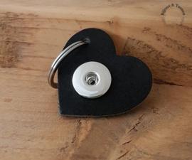 Lederen  hart sleutel/tashanger zwart