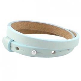 Cuoio armbanden leer 8 mm dubbel Bleached  Aqua Blue