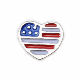"Floating Locket Charm ""Hart Amerikaanse vlag"""