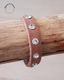 Lederen strass armband bruin