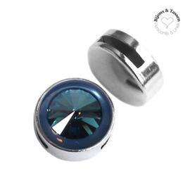 Slider 20 mm Shiny Rivoli Swarovski Denim Blue