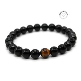 Onyx / tijgeroog kralen armband