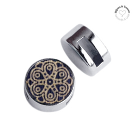 Slider 12 mm cabochon hout mandala dark blue