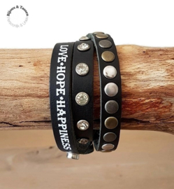 Lederen wikkelarmband Love, Hope & Happiness Zwart