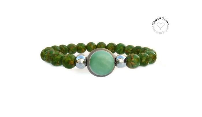 Kralen armband groen half edelsteen