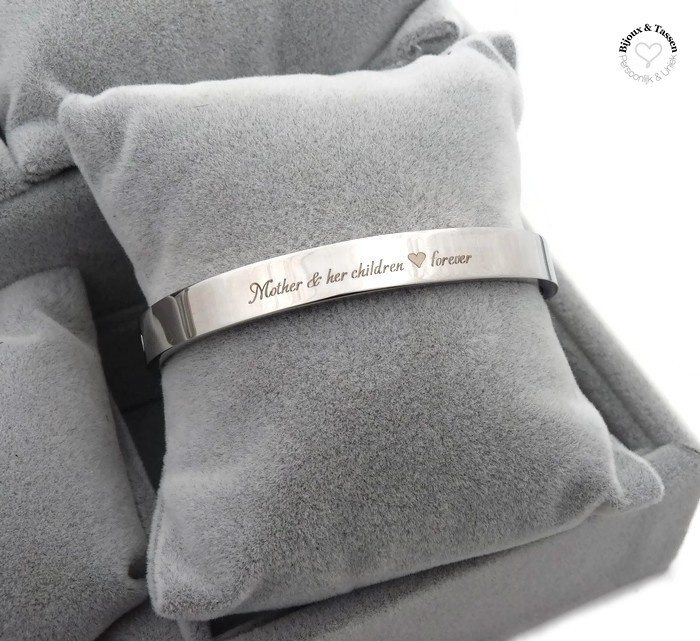 """Stainless steel armband """"Mother & her children ♥ forever"""""""