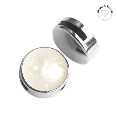 Slider 20 mm Pearl shine wit beige