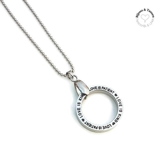 "Stainless Steel ketting ""Love is Patient, Love is kind"""
