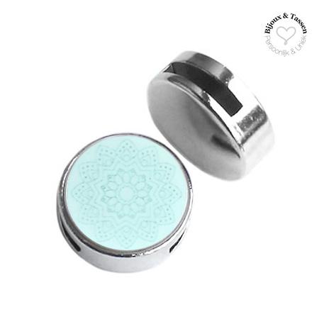Slider 20mm Mandala matt Light aqua blue