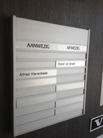 Aan- afwezigbord aluminium blank mat