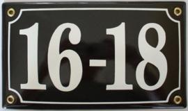 Huisnummer emaille  22x13 cm zwart