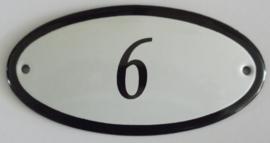 Huisnummer emaille ovaal 6x4 cm
