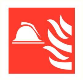 Brandweerhelm/vlam 300x300 mm kunststof PP