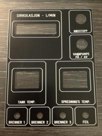 Machine frontplaat PVC zwart/wit